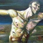 "Emanuel Garibay, Oblation, oil on canvas, 30 3/4"" x 99 1/4"", 2008"