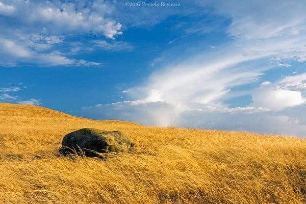 landscape photo of a rock in golden grass of California with blue sky and clouds