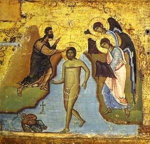 An icon of the baptism of Christ